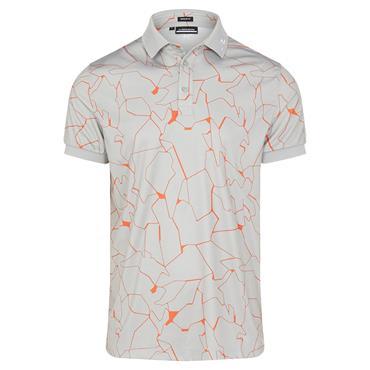 J.Lindeberg Gents Tour Tech Print Regular Fit Polo Shirt Slit Grey