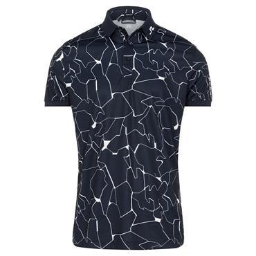 J.Lindeberg Gents Tour Tech Print Regular Fit Polo Shirt Slit Navy