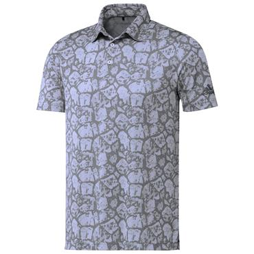 adidas Gents Cobblestone-Print Recycled Content Polo Shirt Violet Tone - White - Grey Three