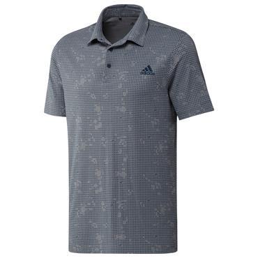adidas Gents Night Camo-Print Primegreen Polo Shirt Grey Melange - Crew Navy