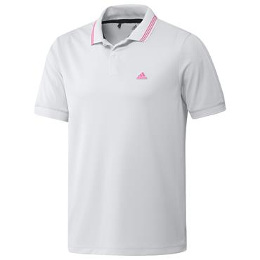 adidas Gents Go-To Primegreen Pique Polo Shirt White - Screaming Pink