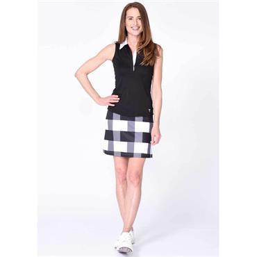 Golftini Ladies Manhattan Pull On Skort Black - White