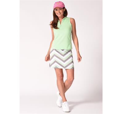 Golftini Ladies Chutes & Ladders Pull On Skort Taupe - Mint