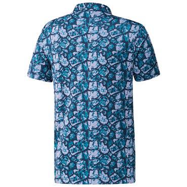 adidas Gents Cobblestone-Print Recycled Content Polo Shirt Sonic Aqua - Violet Tone - Crew Navy