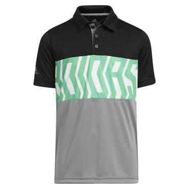 adidas Junior - Boys Print ColourBlock Polo Shirt Black - Semi Screaming Green