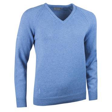 Glenmuir Ladies V Neck Raglan Sleeve Lambswool Blend Sweater Sky Blue