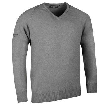 Glenmuir Gents Leven V-Neck Raglan Sleeve Lambswool Golf Sweater Mid Grey