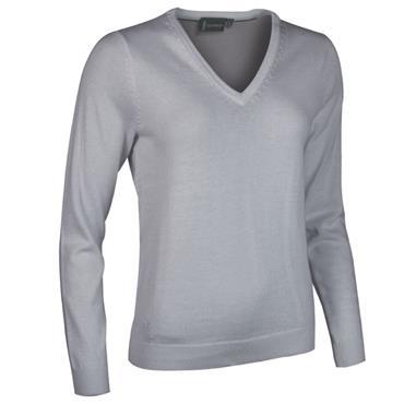 Glenmuir Ladies Darcy V Neck Sweater Light Grey