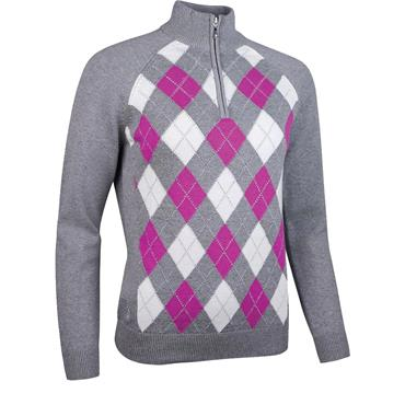 Glenmuir Ladies Adriana Zip Neck Argyle Lurex Touch of Cashmere Golf Sweater Grey - Fuchsia - White
