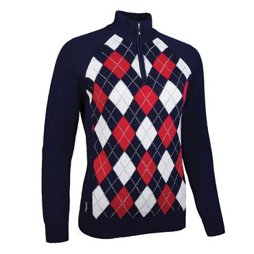 Glenmuir Ladies Adriana Zip Neck Argyle Lurex Touch of Cashmere Golf Sweater Navy - White