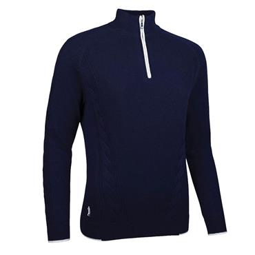 Glenmuir Ladies Illona Zip Neck Moss Cable Touch of Cashmere Golf Sweater Navy