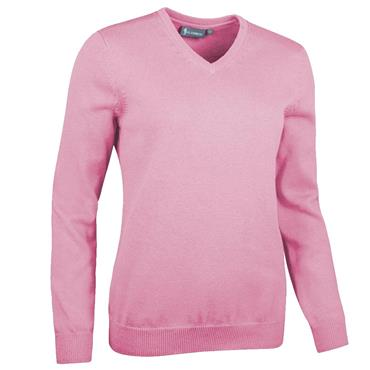 Glenmuir Ladies Flora V Neck Touch of Cashmere Golf Sweater Candy