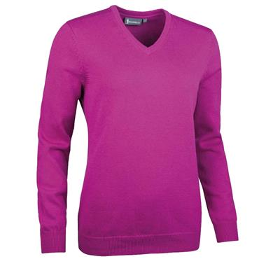 Glenmuir Ladies Flora V Neck Touch of Cashmere Golf Sweater Fuchsia