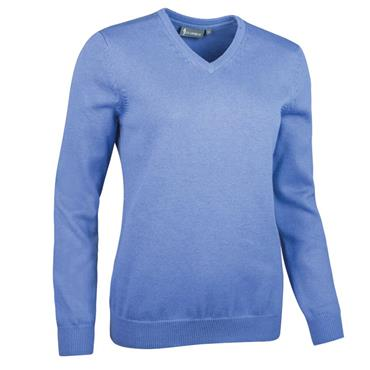 Glenmuir Ladies Flora V Neck Touch of Cashmere Sweater Light Blue