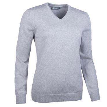 Glenmuir Ladies Flora V Neck Touch of Cashmere Golf Sweater Light Grey Marl