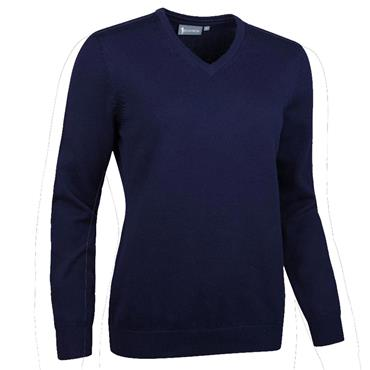 Glenmuir Ladies Flora V Neck Touch of Cashmere Golf Sweater Navy