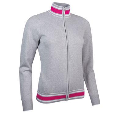 Glenmuir Ladies Uma Zip Through Ottoman Chevron Cotton Sweater Light Grey Marl