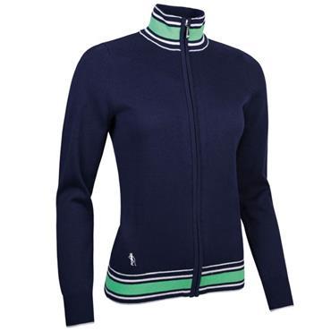 Glenmuir Ladies Uma Zip Through Ottoman Chevron Cotton Sweater Navy