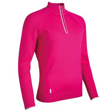 Glenmuir Ladies Nika ¼ Zip Sweater Magenta - White