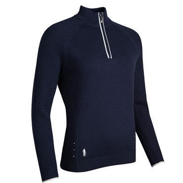 Glenmuir Ladies Nika ¼ Zip Sweater Navy - White