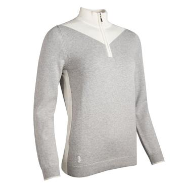 Glenmuir Ladies Olivia ¼ Zip Sweater Light Grey Marl - Ivory