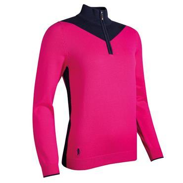 Glenmuir Ladies Olivia ¼ Zip Sweater Magenta - Navy