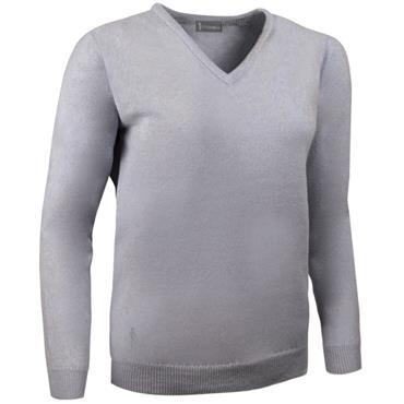 Glenmuir Ladies Nina V-neck Lambswool Sweater Light Grey