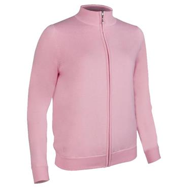 Glenmuir Ladies Shelley Zip Front Stripe Collar Lined Cotton Golf Sweater Candy