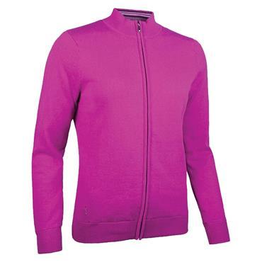 Glenmuir Ladies Shelley Zip Front Stripe Collar Lined Cotton Golf Sweater Fuchsia