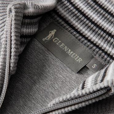 Glenmuir Ladies Shelley Zip Front Stripe Collar Lined Cotton Golf Sweater Grey Marl