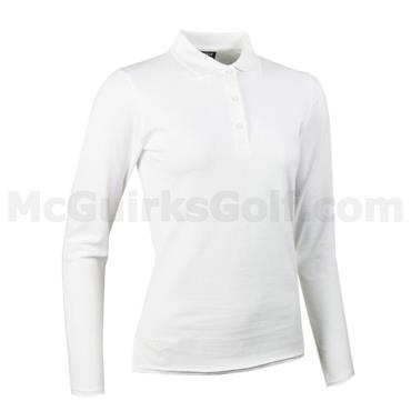 Glenmuir Ladies Tess Long Sleeve Cotton Pique Polo Shirt White