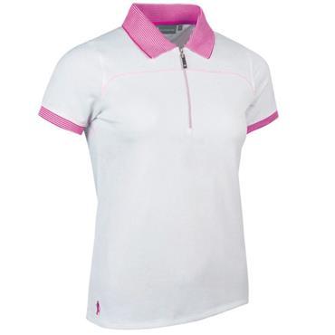 Glenmuir Ladies Nadia Polo Shirt White - Fuchsia