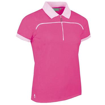 Glenmuir Ladies Nadia Polo Shirt Hot Pink - White