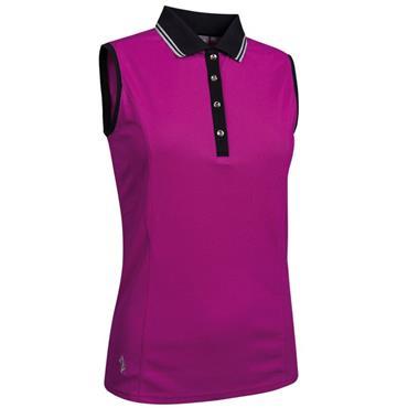 Glenmuir Ladies Orissa Sleeveless Polo Shirt Fuchsia - Black - Silver