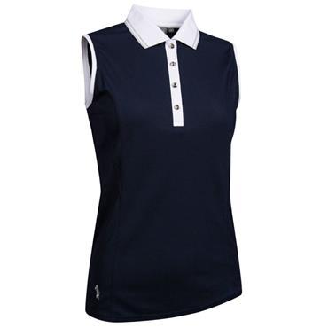 Glenmuir Ladies Orissa Sleeveless Polo Shirt Navy - White - Silver