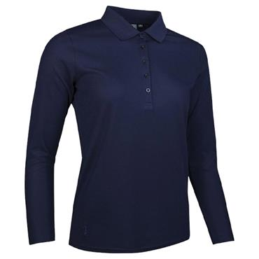 Glenmuir Ladies Misha Long Sleeve Performance Pique Golf Polo Shirt Navy