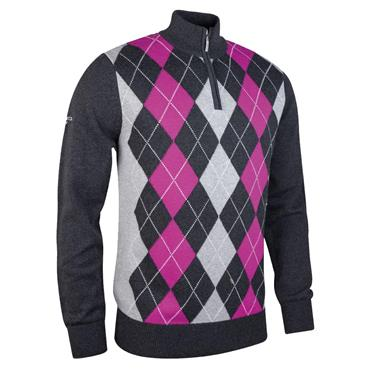 Glenmuir Gents Beauly Zip Neck Argyle Front Touch of Cashmere Golf Sweater Charcoal - Grey - Fuchsia