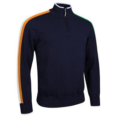 Glenmuir Gents Dublin Zip Neck Irish Flag Stripe Cotton Golf Sweater Navy
