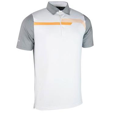 Glenmuir Gents Hatfield Micro Polo Shirt Light Grey - White - Sunrise