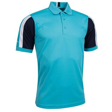 Glenmuir Gents Sleeve Panel Stripe Performance Pique Doune Polo Shirt Aqua