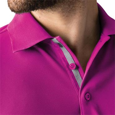 Glenmuir Gents Sleeve Panel Stripe Performance Pique Doune Polo Shirt Fuchsia