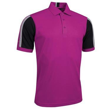 Glenmuir Gents Sleeve Panel Stripe Performance Pique Doune Polo Shirt Fuchsia