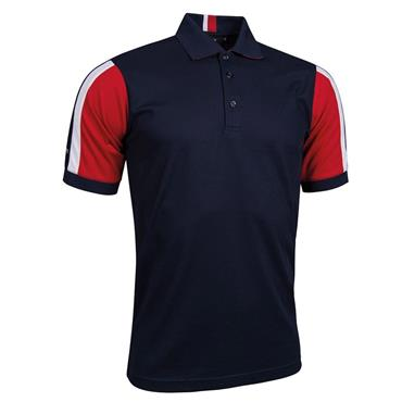 Glenmuir Gents Sleeve Panel Stripe Performance Pique Doune Polo Shirt Navy