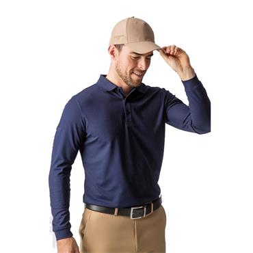 Glenmuir Gents Max Long Sleeve Performance Pique Polo Shirt Navy
