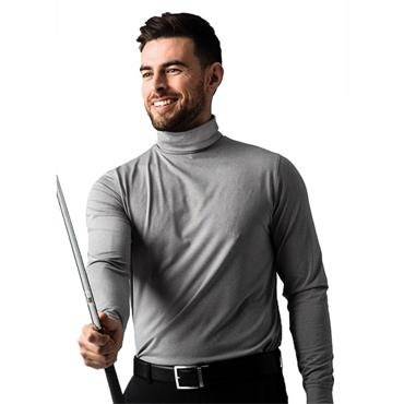 Glenmuir Gents Fraser Roll Neck Golf Shirt Grey Marl