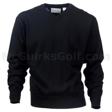 Kartel Gents M-Wool Mercerised V-Neck Sweater Black