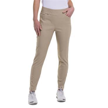EPNY Ladies Pull On Compression Slim Ankle Pants Khaki