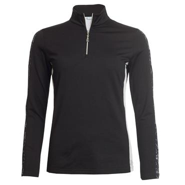 Green Lamb Ladies Remy 1/2 Zip Side Panel Top Black - White