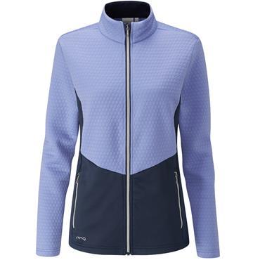 Ping Ladies Florrie Jacquard Fleece Dark Grapemist - Oxford Blue