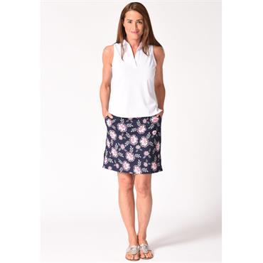 Golftini Ladies Go Fish Skort Navy - Pink - White